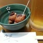 柏戸銀寿し - 本日のお通し(倍貝)