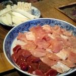 鳥栄 - 軍鶏肉と葱等の食材