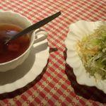 レストラン いけじゅう - ディナーコース スープとサラダ
