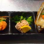 市場食堂 さかなや - 真牡蠣・真鱈白子・安肝の珍味3点盛り¥1200
