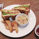 イグニッションスイッチ - アメリカの定番サンド・BLTサンドイッチ!…と思ったら、                             BLTCAサンドだそうです。                             自家製ベーコン・レタス・トマト・チーズ・アボカドが入った豪華版。