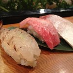 喜久寿し - 料理写真:大将おすすめ3,670円。車海老やトロなど☆(第一回投稿分②)