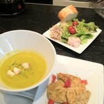 d'argento croce - かぼちゃと豆乳のポタージュのスーププレートランチ