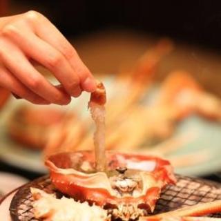 ホテル桃源 - 料理写真:ん~~、たまりません!蟹の洗いに焼蟹味噌をつけて、パクリ♫