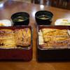 うなぎのまとい - 料理写真:左、うな重(上)¥3,500 右、うな重(並)¥2,500