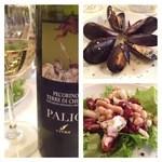 22053611 - ムール貝のワイン蒸し、たことビーンのサラダ