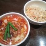 唐朝刀削麺 - Bセット(チャーハン&選べるハーフ刀削麺)¥950