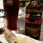 ボウズドア - お通しはシシトウの豚肉巻き200円
