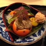 和食 陸 - 料理写真:よこわ 白和え 栗の土佐煮 鯛の子