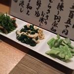 いけまさ亭 - 選べるお惣菜3品(三度豆の練り胡麻和え、湯葉とツルムラサキのおひたし、セリとあさりの和え物)
