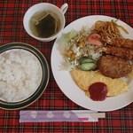 ウェンディーズ - 日替わりランチB:エビフライ付きオムレツ定食(680円)