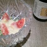 22087244 - 付きだし、いちじく、水菜、ヒラタケの和え物