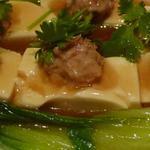施家菜 - 豆腐の蒸し物シャンタンソースアップ