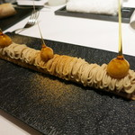 レストラン ラ フィネス - 前菜 フォアグラのモンブラン風 ヘーゼルナッツのキャラメリゼ