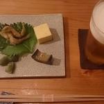 22106585 - お通し:鮎の天ぷら、玉子豆腐、枝豆、茄子