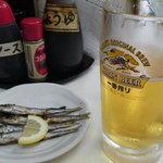 アナバ - 生ビール(キリン一番搾り)(380円)にうるめ(250円)
