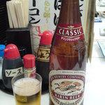 アナバ - 壁に「クラシックラガー 大ビン 410円」とのポスターがあったのでコレを注文。中ジョッキ380円で大ビン410円だったらこっちの方がトクだよねぇ。