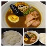 カヨカリ - ◆「スープカレー(ベーコン)800円」・・お野菜は揚げてありますね。 札幌のスープカレーと比べるとお野菜は少なめ。カレーは程良い辛さで食べやすい。 福岡で頂くスープカレーとしては、美味しい方です。
