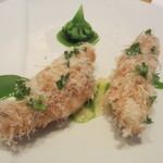 エディション・コウジ シモムラ - カダイフを纏った的鯛の軽やかなフリット パルミジャーノ ブロッコリーのソース