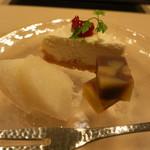 濤﨑 - デザート 酒粕のチーズケーキ/自家製栗ようかん/幸水