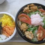ぶっかけ亭本舗ふるいち - ☆唐揚げうどん+鮭トロ丼☆