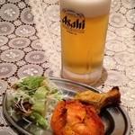 ケサリ - 生ビールセット ¥600 生ビール・チキンティッカ・手羽元 お仕事帰りにどうぞ!