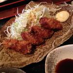 和食 貴山 - 2013年10月28日(オープン初日)のかきフライ定食(950円)