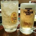 焼肉 白雲台 - メガハイボール♪(生ビール中ジョッキと比較)
