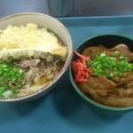 22175641 - 肉うどん(茄子天ぷらトッピング)、ミニ豚丼