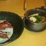 酒菜 ねむ太郎 - 松茸の土瓶蒸しと馬刺し