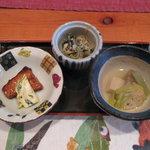 天ぷら割烹 一夢 - 料理写真:小鉢3種(焼き物・酢の物・炊き合わせ)