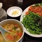 味の彩華 - 《ほうれん草とトマトのつけ麺》       2013/10/31