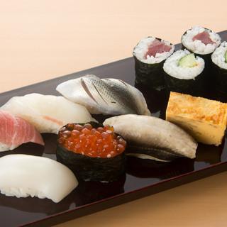 厳選素材を使用した本格握り寿司
