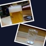 とん吉 - ドリンク写真:生ビールと芋焼酎ロック