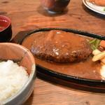 洋食春 - 2013/10 ジャンボハンバーグ セット(1,500円)