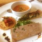 オステリア - 前菜盛合せ ミネストローネ、キッシュ、鴨のテリーヌ、烏賊リングフライのマリネ