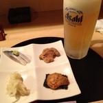 まるしん - お通しとビール