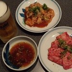 焼肉モリタ屋 - 『生ビール』(540円)、『和牛上カルビ』(1000円)、『和牛上テッチャン』(740円)と、つけダレ~♪(^o^)丿