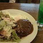 ファースト・トレイン - 料理写真:≪再≫ハンバーグ、メロンソーダ