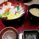 喜水丸 ソラリアステージ店 - 『喜水丼』がやってまいりました。 お味噌汁付です(麩とネギ入り)。 タレは小皿で別添えです。