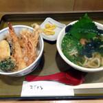やのや - 「ミニ天丼セット(梅しそ)」780円