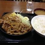 Kashiwaya - 豚肉生姜焼定食(600円)+大盛(50円)