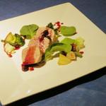 22316936 - お肉のメイン料理ランチ<\1,400>(ポークフィレ肉のソテー カシスソース、2013年9月)