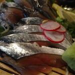 魚可祝 - 新秋刀魚の刺身アップ