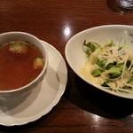 22318743 - セットのスープ&サラダです。