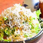 焼鳥居酒屋あんぽんたん - ジャコと水菜のサラダ…ジャコがアクセントとなり美味しい一品