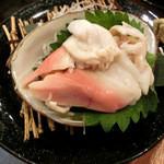 浜焼太郎 - ホッキ貝のお刺身も初めて食べた!