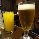 鉄板焼物 やちむん - ノンアルコールビールとマンゴージュース