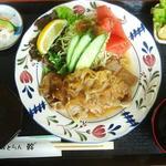 れすとらん幹 - 料理写真:茨城尽くしの「茨食」です。お肉は茨城の美明豚とローズポーク。 ごはんは、ひたちなか市の塙さんのお米。味噌汁は常陸に300年のミツウロコ味噌。タレは、無添加の当店オリジナル。キャベツは日立産です。1050円