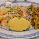 22363801 - 豚とピーマンの細切り炒めと、イカの天ぷら